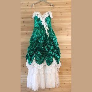 Vintage Mermaid Green Ugly Prom Dress 80s